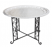 Moroccan  Aluminium Tray Table with Wrought Iron Legs Diameter 76 cm. (ALT17WI)